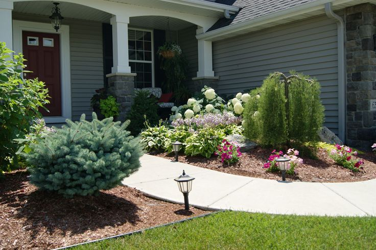 Pin by annie wilcox on getting my hands dirty pinterest for Front entrance landscaping ideas