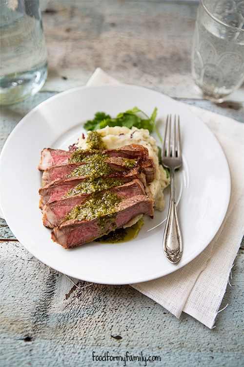 Grilled Steak with Chimichurri Sauce #recipe via FoodforMyFamily.com