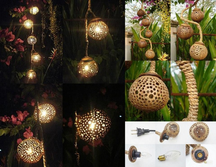 Coconut Shell Lamp-How hard can this be!  Lets go Coconuts, Jackie!