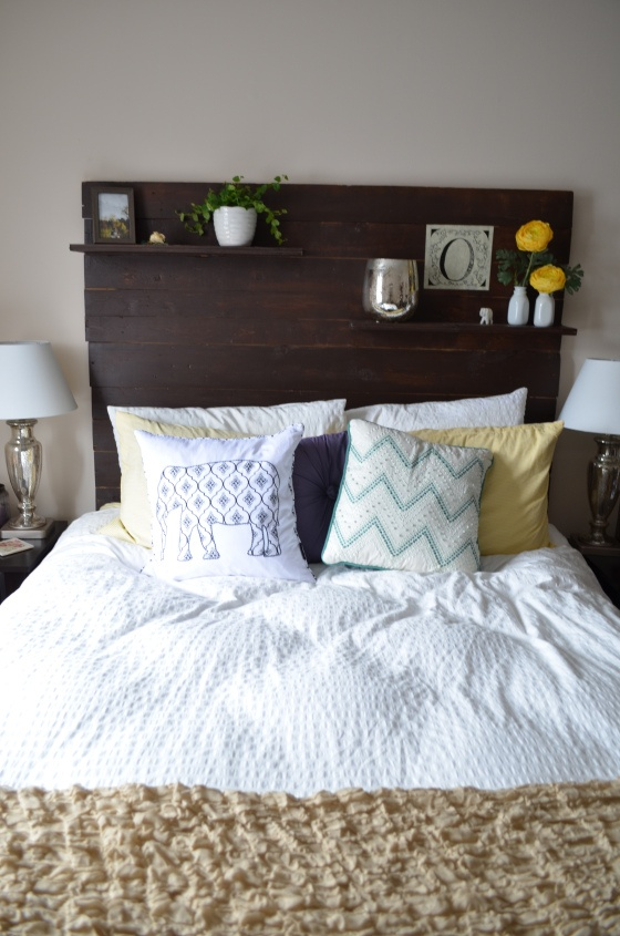 Shelves on wood headboard