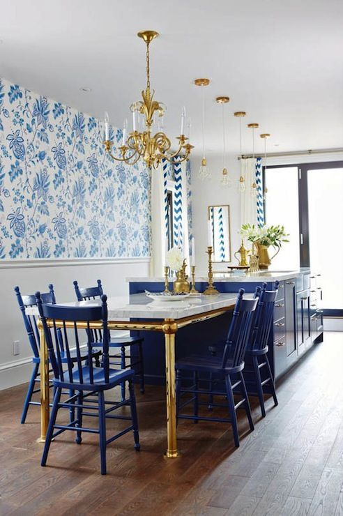 Wallpaper, hardwood floors, blue island, blue kitchen island, n