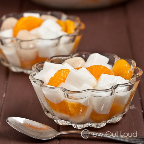 almond jello with lychee and mandarin oranges