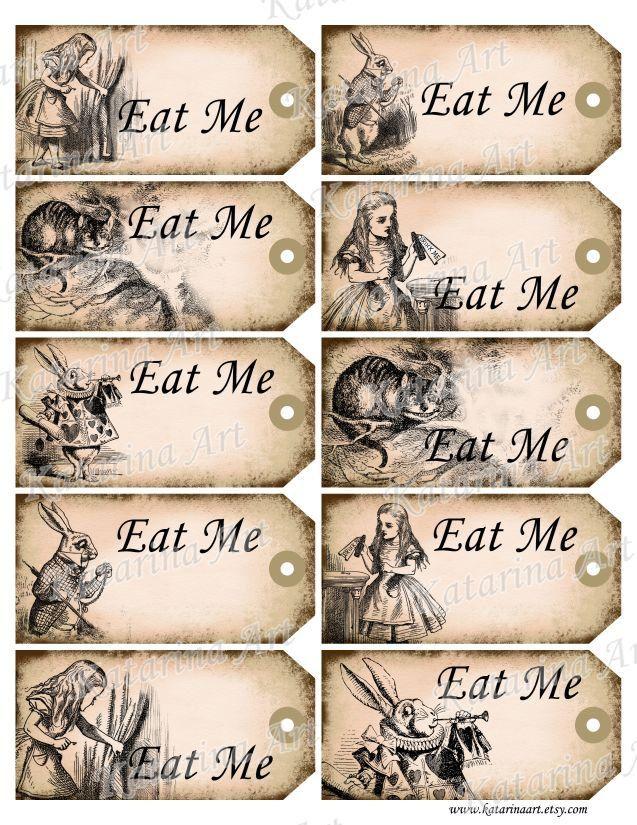 eat me alice in wonderland free printables