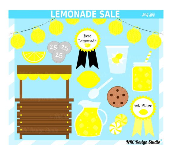 Sweets Clip Art - Lemonade Stand Clip Art - Lemonade Sale Clipart Cli ...