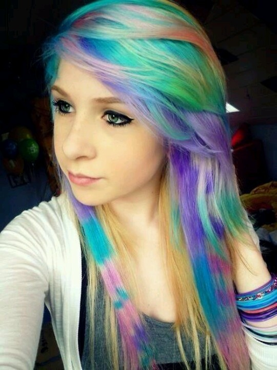 Rainbow hair and colored coontails. | hair | Pinterest