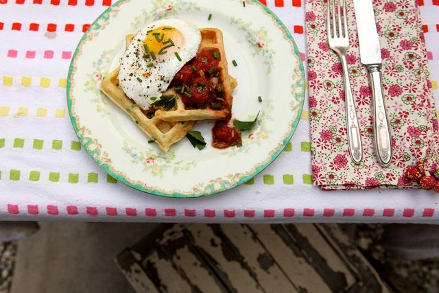 Cornmeal and Chive Waffles with salsa and eggs I've been really into ...
