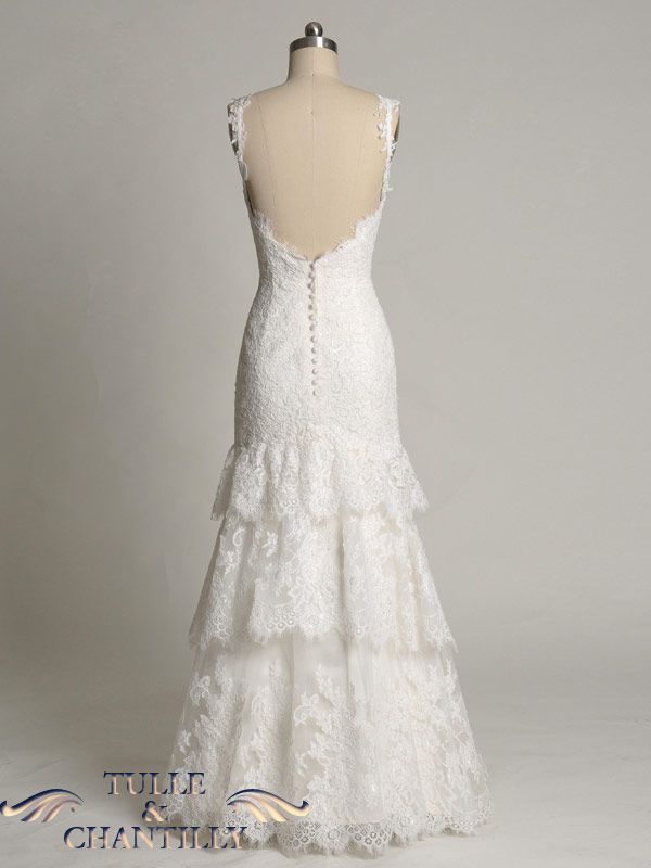 3 Tiered Lace Wedding Dress : Design your wedding dress custom made strappy tiered