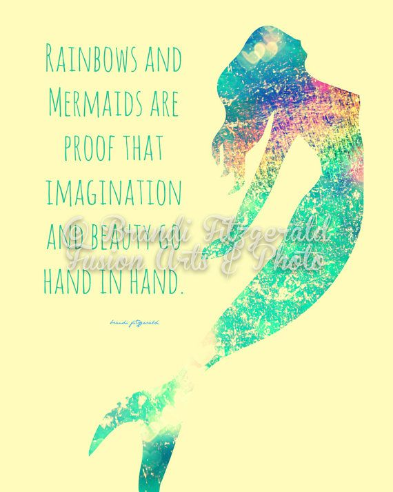 Rainbows and Mermaids Inspirational Quote Bold Colors