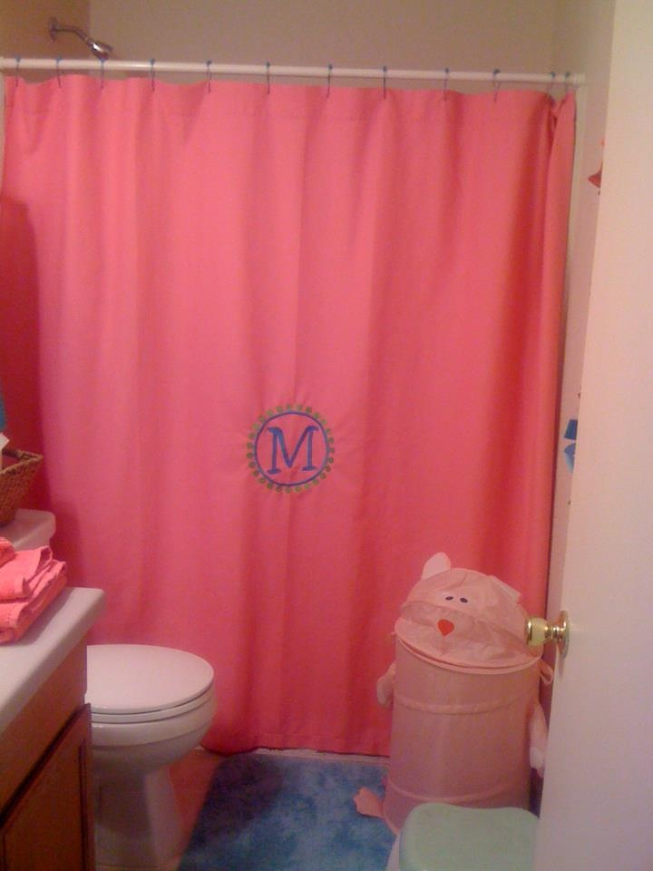 monogrammed girls shower curtain monogrammed pinterest