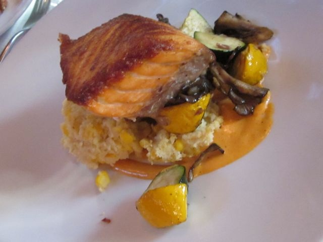 ... salmon atop corn cake with summer squash at Taste in Plymouth, CA