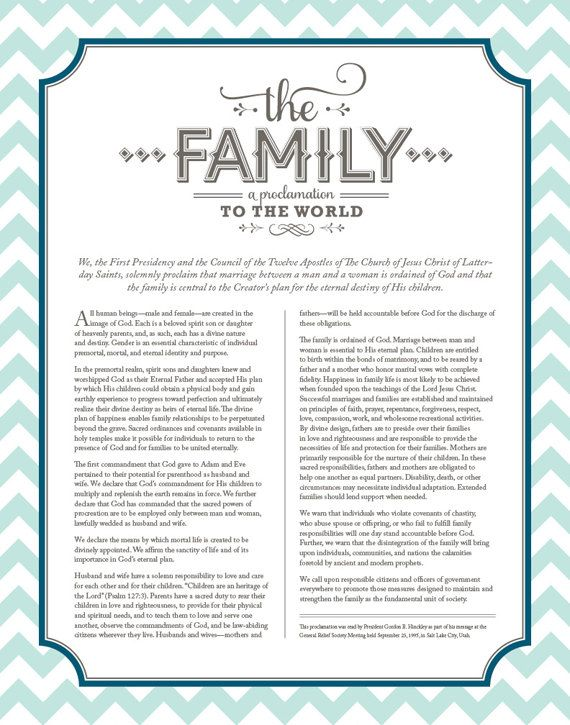 Epic image throughout family proclamation printable