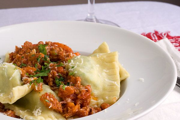 Broccoli Rabe and Provolone Ravioli with Pork Ragu @SpicieFoodie