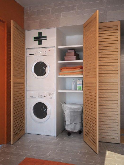 Idee de rangement de la buanderie astuce maison pinterest - Rangement pour petite salle de bain ...