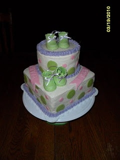 made this cake for a baby shower for twins. The baby booties were ...