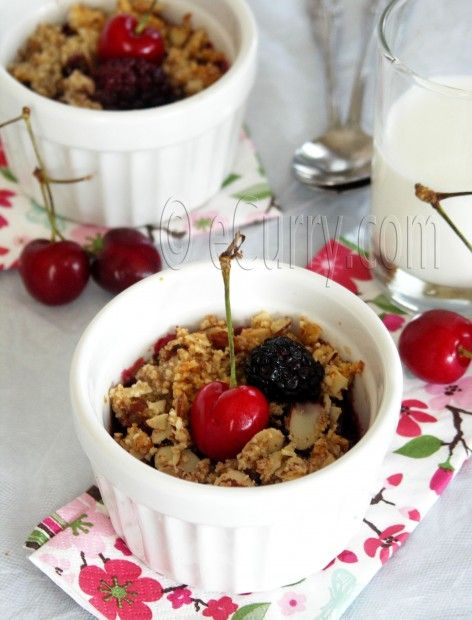 Cherry, Blackberry & Almond Crisp | eCurry - The Recipe Blog