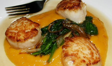 ... puree with seared scallops & wilted greens (not a fan of the greens
