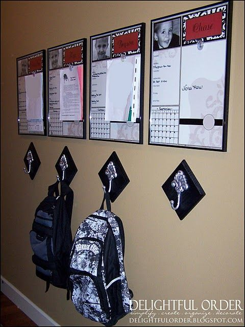 Fun idea for kids to hang backpacks and have their very own message board.