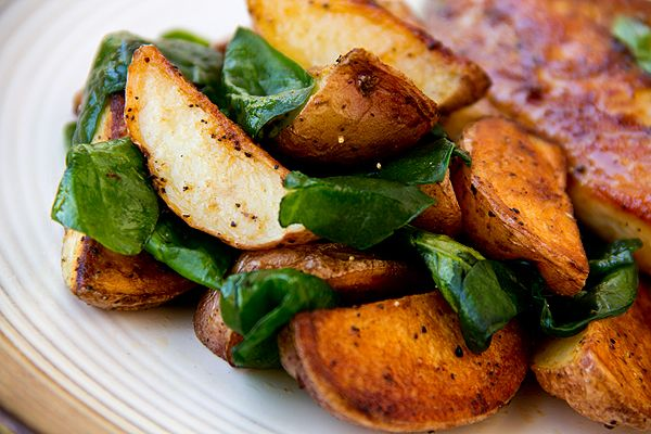 ... Roasted Potatoes with Pan-Seared, Honey-Dijon Glazed Chicken Breasts