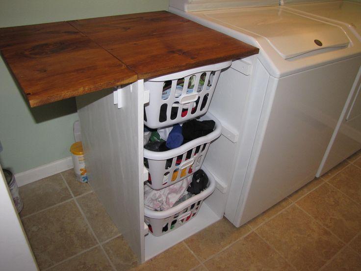 laundry room folding table organized living pinterest. Black Bedroom Furniture Sets. Home Design Ideas