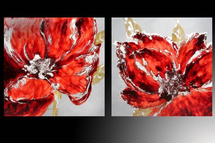 Set de 2 cuadros flores rojas para pintar pinterest - Cuadros para pintar ...