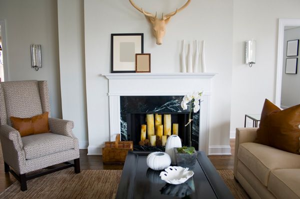 Get creative with your empty fireplace home storage and decor that
