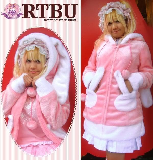 Pink and White Faux Fur Bunny Hoodie with Ears