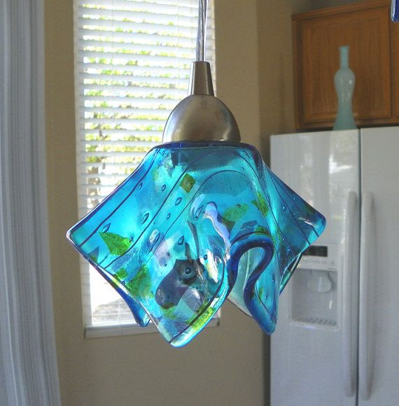 Blue Confetti Art Glass Pendant Light l by UneekGlassFusions, $145 00