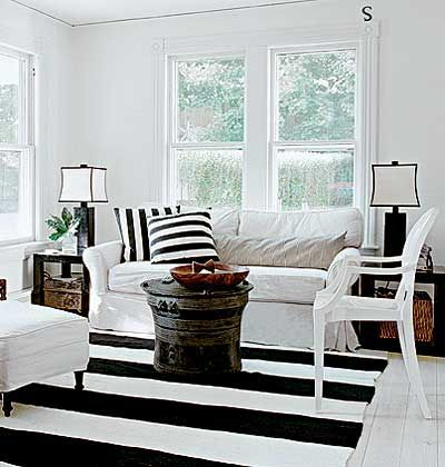 beach decor black and white stripes