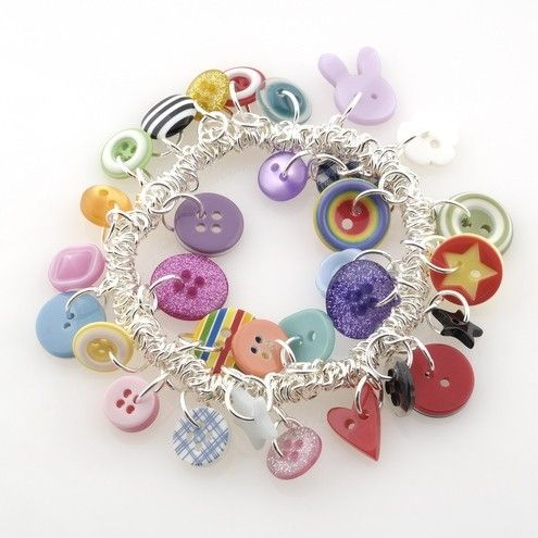Great charm bracelet idea. Just add buttons to a silver bracelet with slip rings.