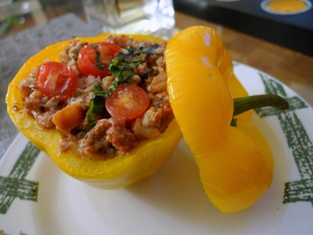 Stuffed Peppers with Ground Beef, Wild Rice, and Goat Cheese