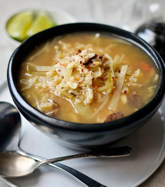 Hot and Sour Mushroom, Cabbage, and Rice Soup | Recipe
