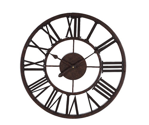 Metal wall clock large roman numerals for the home pinterest - Large roman numeral wall clocks ...