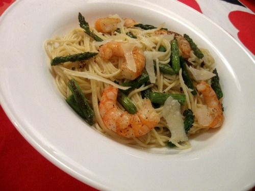 Angel Hair Pasta with Garlic Roasted Asparagus & Grilled Shrimp