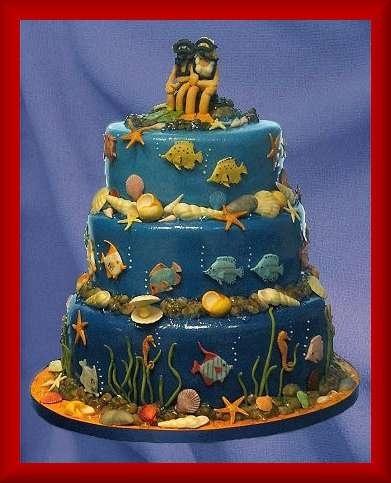 Under the Sea wedding cake Keywords: #seaweddings #jevelweddingplanning Follow Us: www.jevelweddingplanning.com www.facebook.com/jevelweddingplanning/