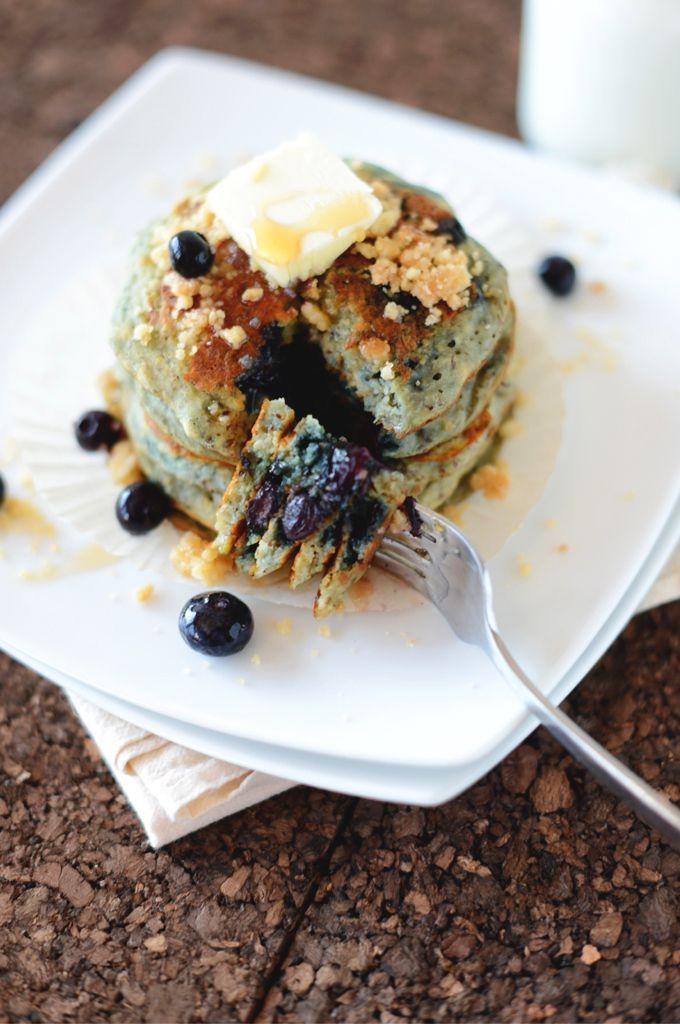 Vegan Blueberry Muffin Pancakes | by minimalistbaker.com