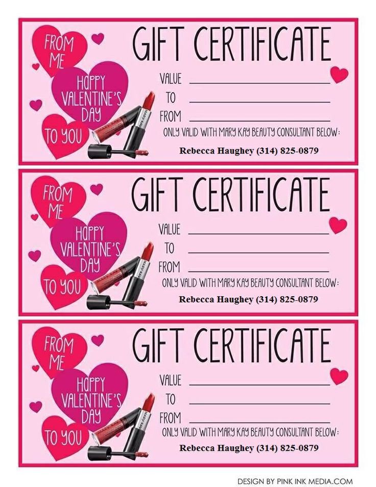 Mary Kay Valentine Gift Certificate