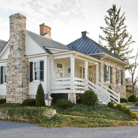 Best Stone Metal Roof White Siding Combo Future House Ideas 400 x 300