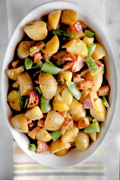 Dijon Potato Salad with Crispy Ham