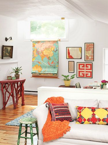 """Express yourself!"" #home #decor /// love the vintage maps and pops of bright color"