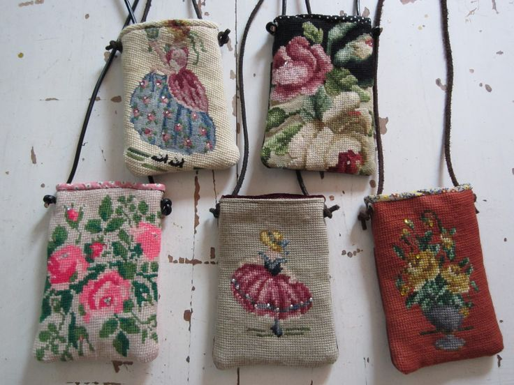 cell phone tote - charming versions using old needlepoint.