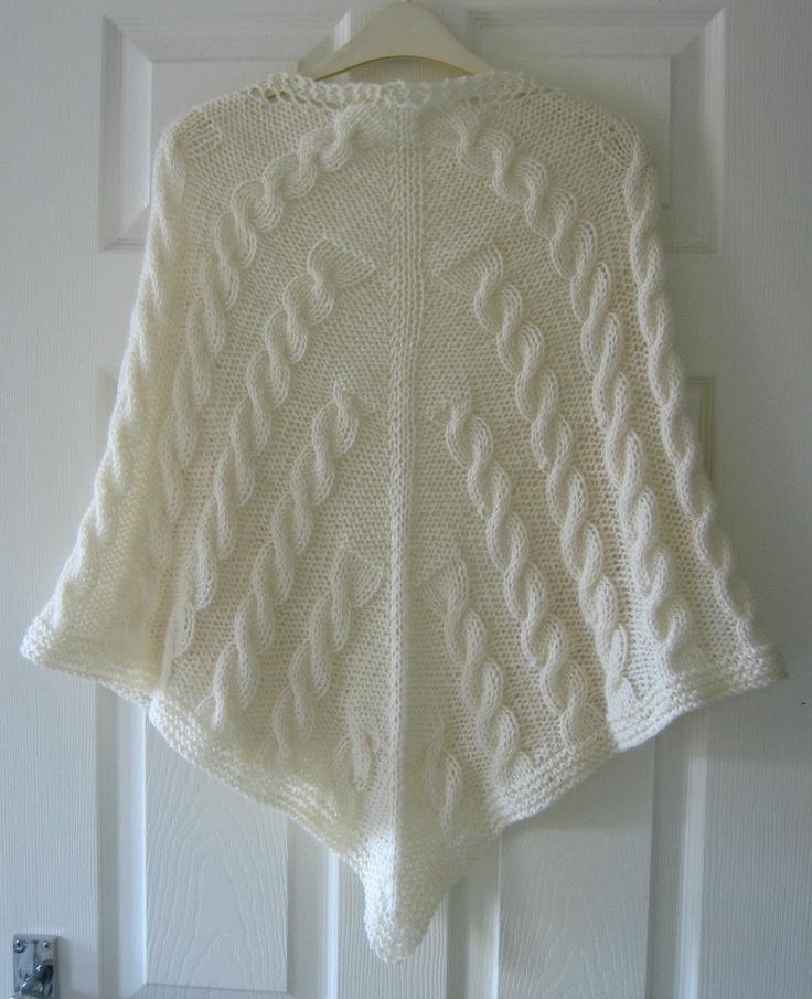 Knitting Pattern Aran Shawl : Knitted Shawl PDF Knitting Pattern, Cables, Aran Yarn, Written Pattern, Trian...