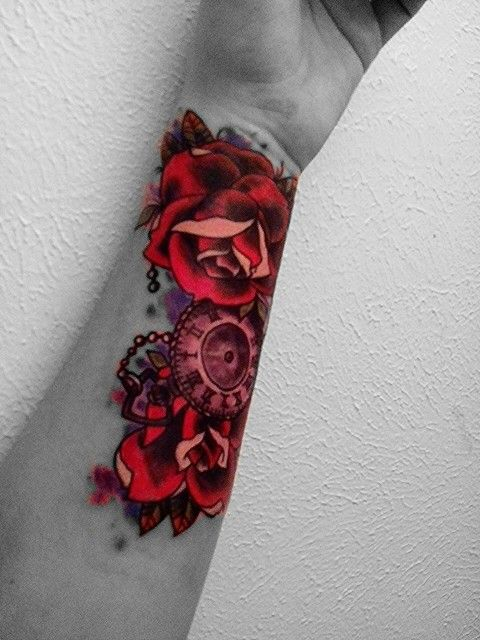 wrist tattoo # cover up # roses # clock # vintage tattoo