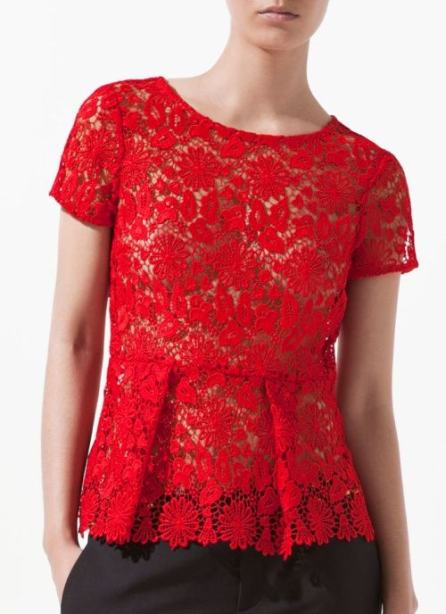 Zara Red Lace Blouse 90