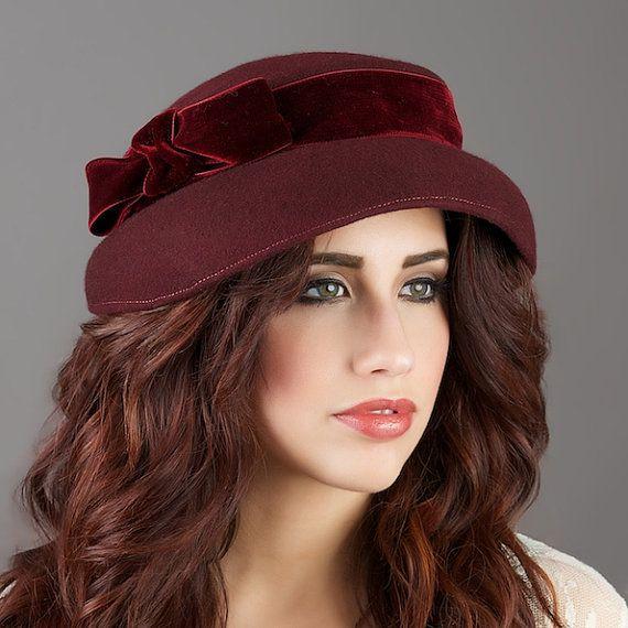 hat womens wool hat burgundy wool 1940s