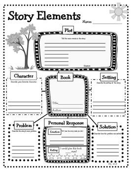 story elements-- readers response worksheets  3 25   ELAStory Elements Graphic Organizer 4th Grade
