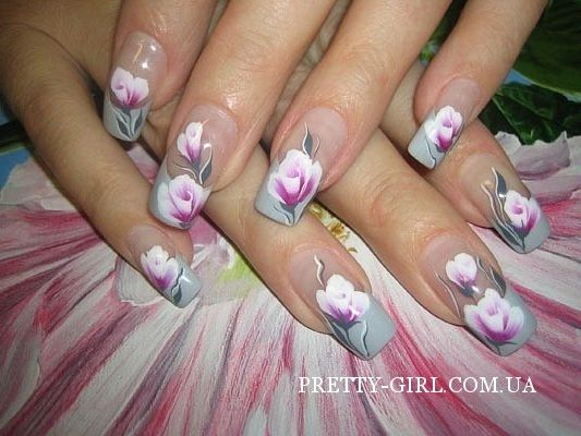 Фото маникюра на длинные ногти с цветами