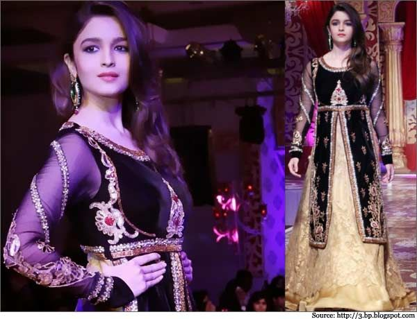 At the Khwaab Bridal Corture 2013, #Alia Bhatt walks the ramp for Kavita and Meenu in a very elegant #bridal lehenga choli.