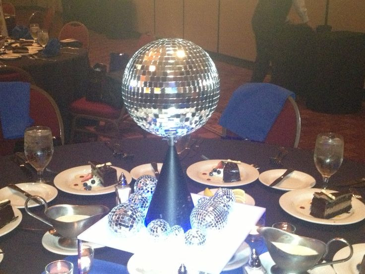 Disco ball centerpiece parties pinterest