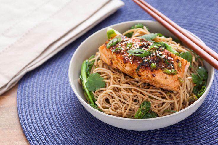 Ginger-Soy Glazed Salmon with Broccoli Rabe & Soba Noodles | Recipe