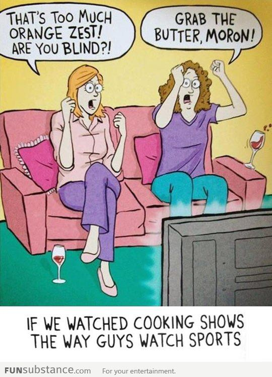 Girls watching cooking shows